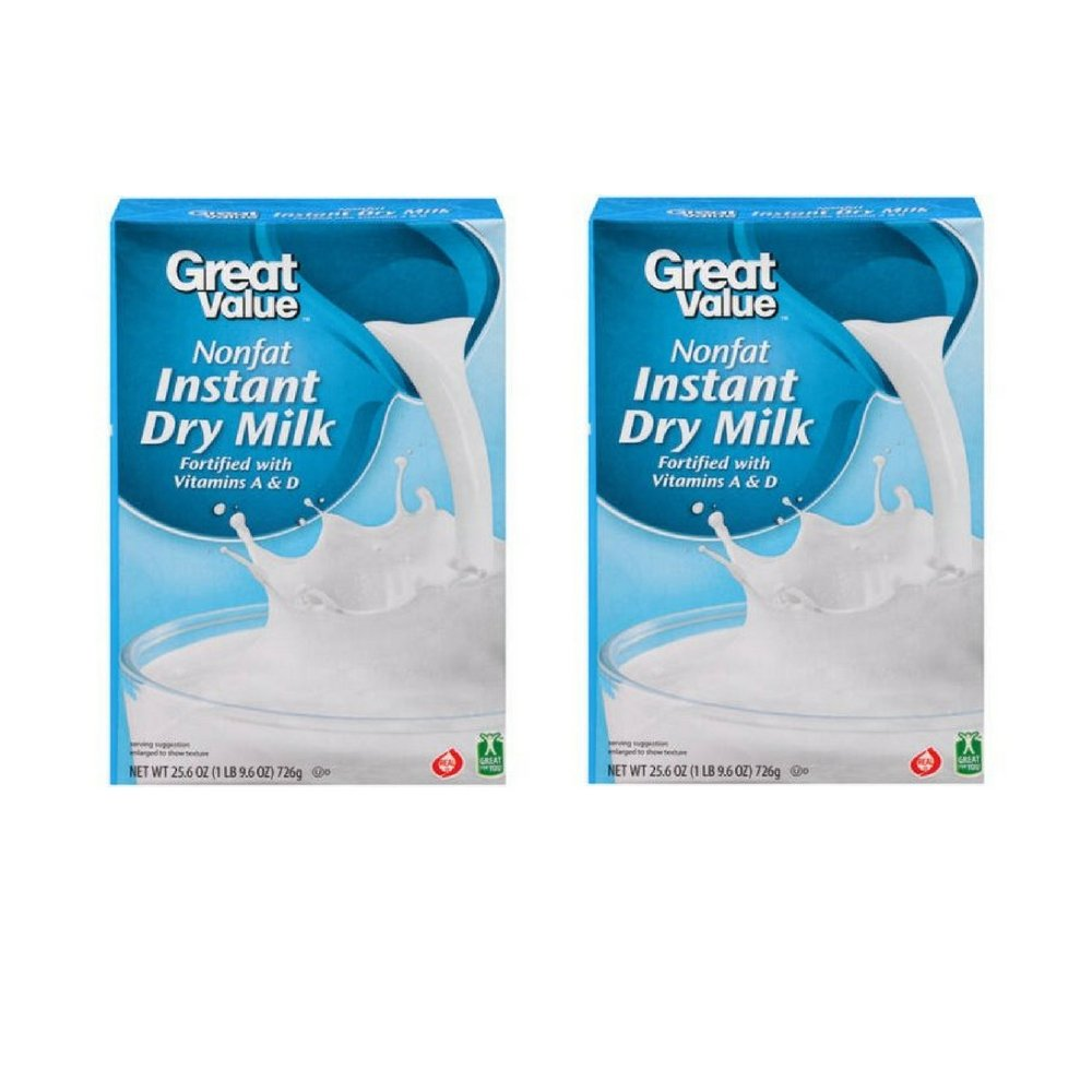 Great Value: Nonfat Instant Dry Milk, 25.6 oz (2pack)