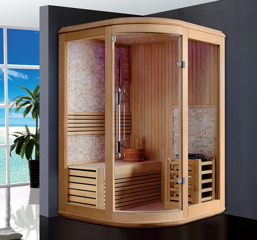 russian sauna room/ indoor sauna/ corner traditional sauna room
