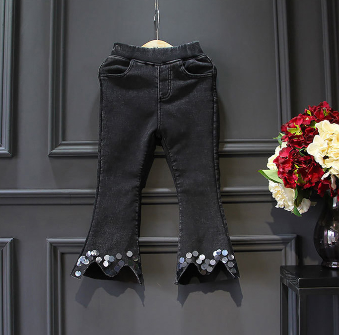 2017 Fall Black Sequin Stretch Flare Jeans For Little Children Pants