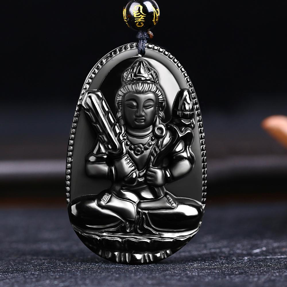 Buddha Pendant Natural obsidian Vintage Necklace Black Buddha Head Pendant For women&men Jade Jewelry Free shipping фото
