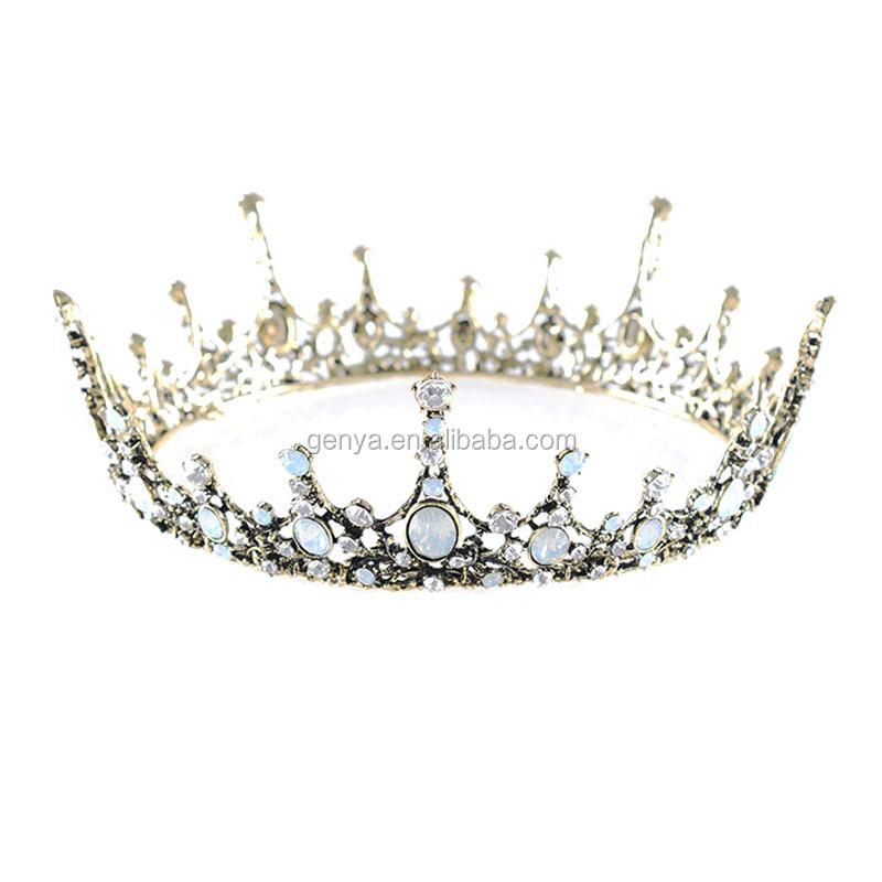 GENYA ใหม่เจ้าสาวอุปกรณ์เสริมผม, สีชมพูเพชรคริสตัลทำด้วยมือลูกปัดเจ้าสาวมงกุฎเจ้าสาวแต่งงาน tiara มงกุฎผม