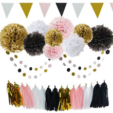 Tissue Paper Pom Poms Flowers Kit Paper Lanterns Hanging Star paper Garland Honeycomb Balls for Wedding Party Decoration Bi