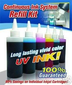 Gigablock CIS Refill Kit with 6 Colors UV(Ultra Violet) resistant Ink for Continuous Ink System of Epson R260 R280 R380 RX580 (Related Cartridge # : T078120, T078220, T078320, T078420, T078520, T078620)