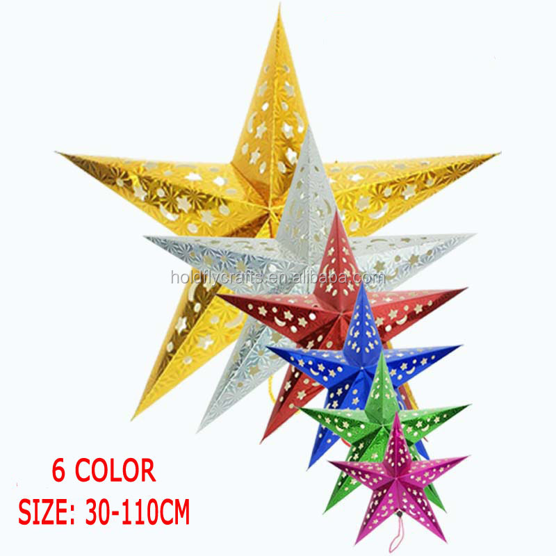Hanging Decoration Festival Supplies Multi-color Laser Paper Five-Pointed Star Christmas Tree Ornaments