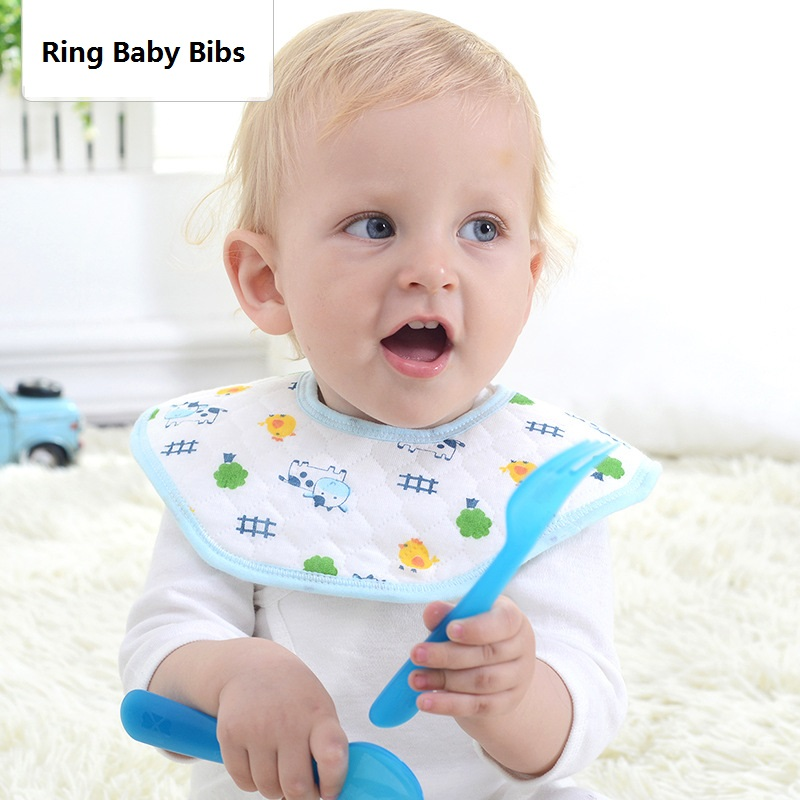 3pcs/lot Waterproof Baby bibs Cotton Saliva bibs Burp Cloths Kids Ring Collars Scarf for 0-2 years old Baby feeding