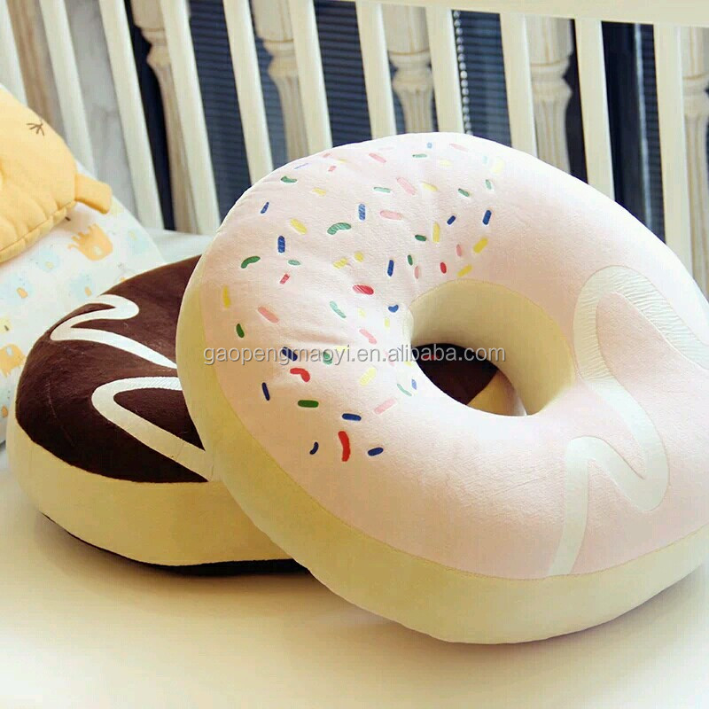 Creative Doughnut Printed Plush Stuffed Food Shaped Pillow Plush Food Toy Pillows