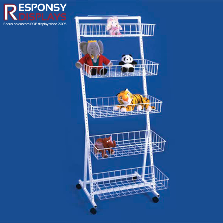 Mobile multifunctional floor display rack metal wire basket display shelf for toy and accessories