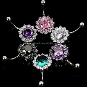 316L Stainless Steel Big Gems Zircon Fake Navel Free Belly Button Rings