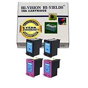HI-VISION® Remanufactured Ink Cartridge Replacement for HP 61XL (2 Black,2 Color,4-Pack) for Deskjet 1000 Printer-J110a,1055 All-in-One Printer-J410e,1050 All-in-One Printer-J410a,1051 All-in-One