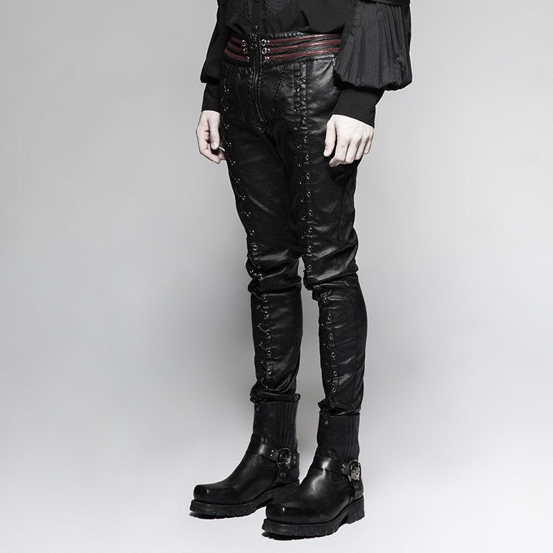 K-285 PUNK RAVE Latest Gothic Vampire Bloody Decoy Elastic PU Trousers