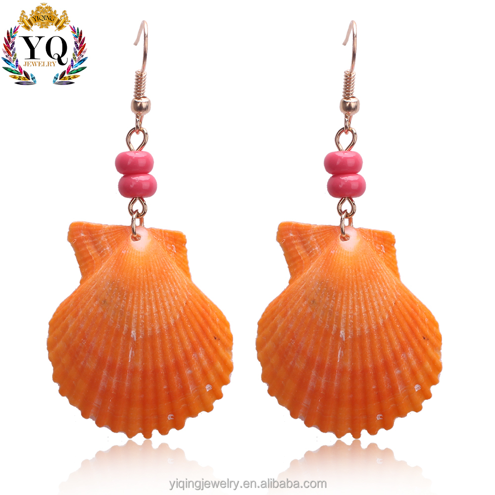 EYQ-00566 fashion fancy design charming nature shell earring with arcylic bead