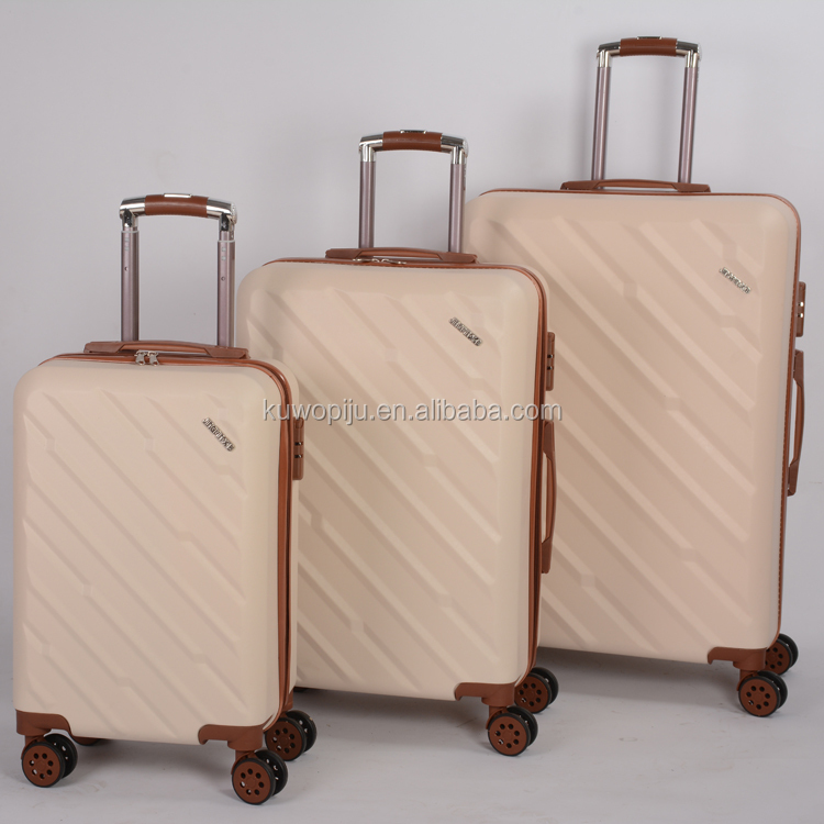 white beige color 3pcs set 4 wheels urban luggage bag pc abs combination lock abs and pc lugagge