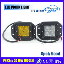 Hot selling !! USA chip , 12V 5D 1600LM 16W led work light ,4x4 led light bar