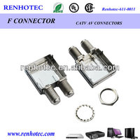 Din rail double female f connector f type connector