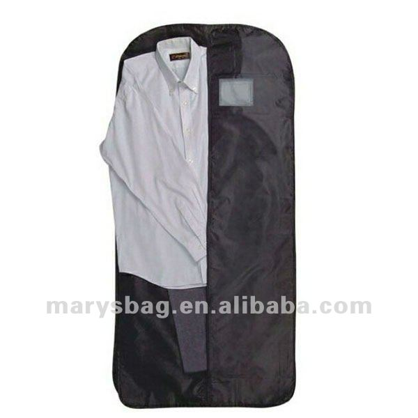light weight PEVA travel garment bag with exterior vinyl pocket