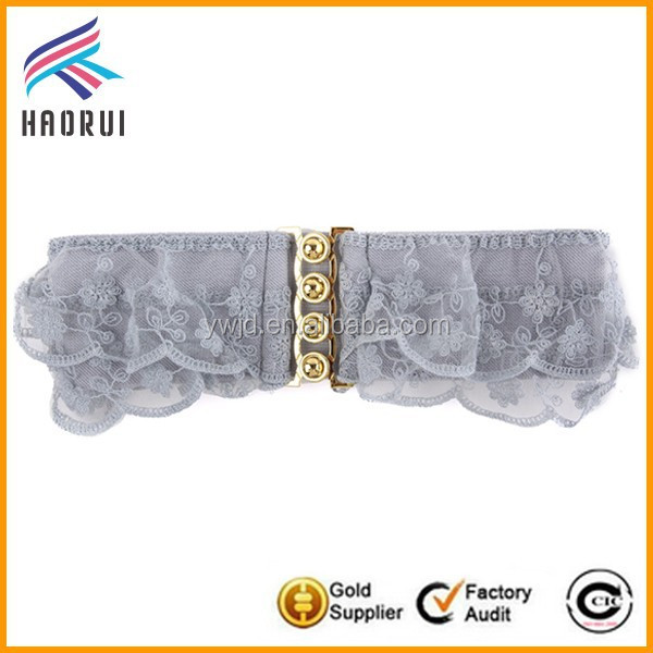 Fancy lace wide corset belt for ladies with alloy buckle