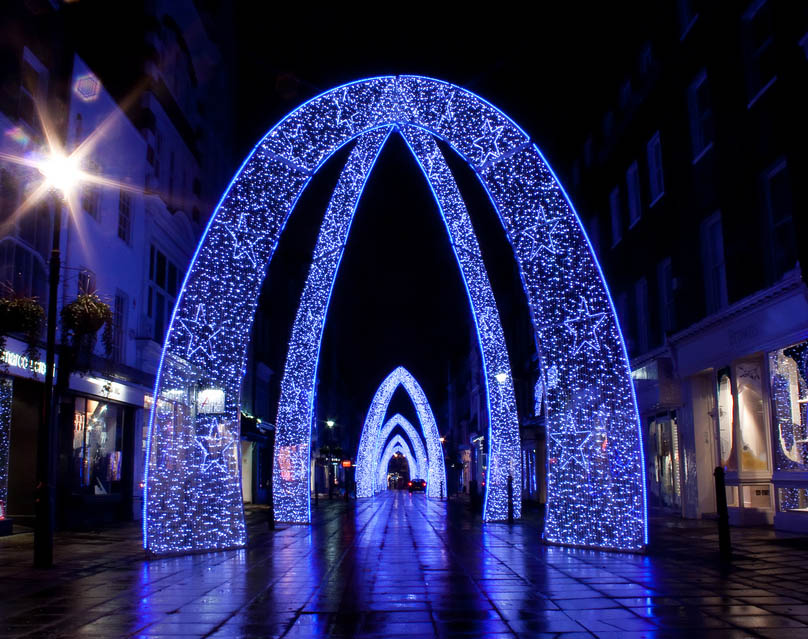Christmas Decorating With Floodlights : D outdoor color changing arch led christmas lighting