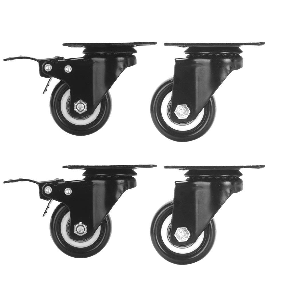 "Accessbuy 2"" Heavy Duty Caster Wheels PU Rubber Swivel Casters with 360 Degree Top Plate & Bearing Heavy Duty Pack of 4 - Black (2 inch - 2 with Brake and 2 Regular)"