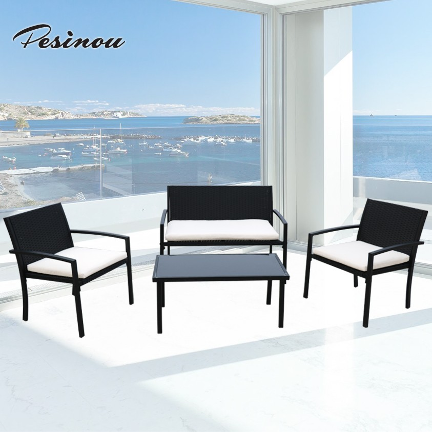 4-piece Glass Top Bistro Set Wicker Chairs