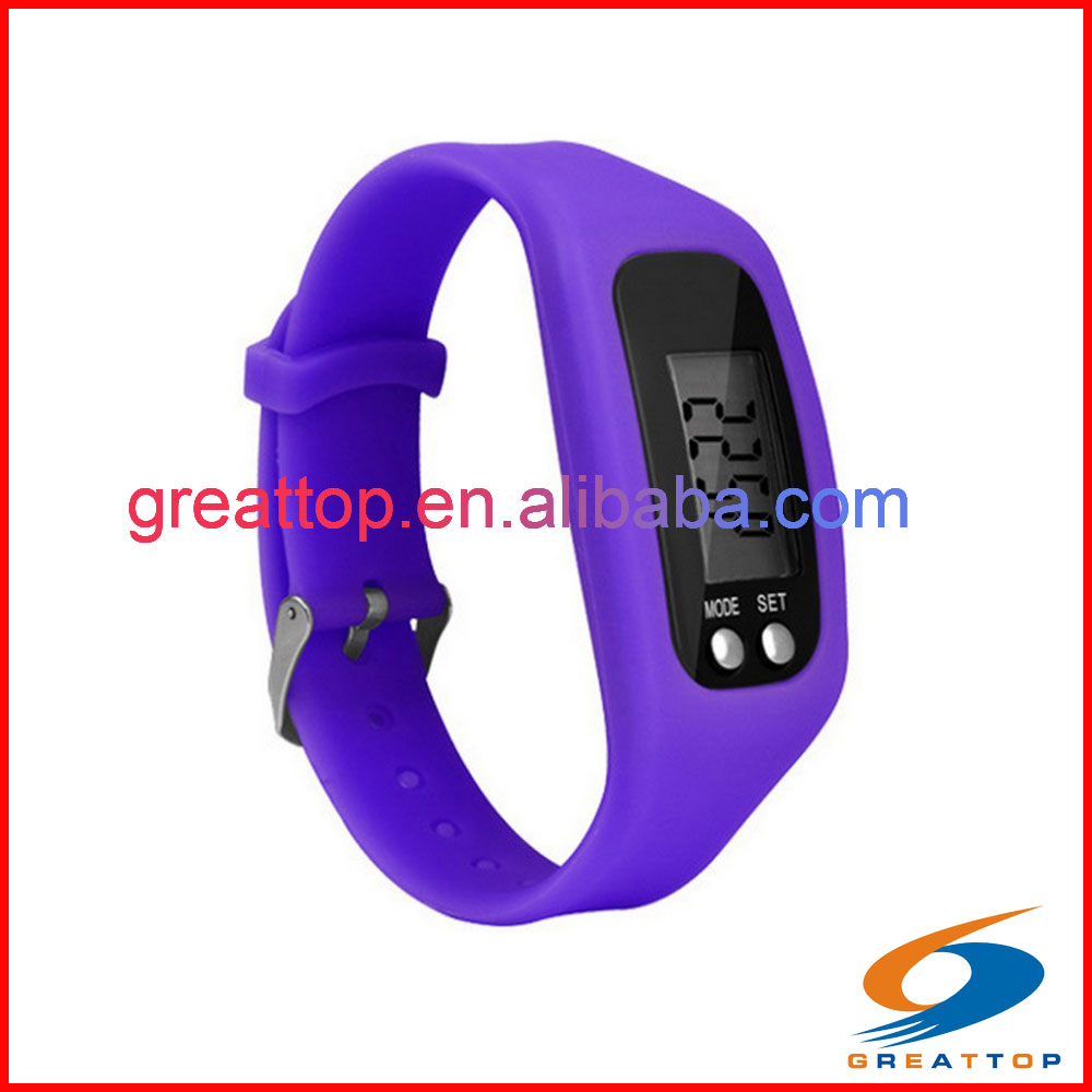 Wristband pedometer with stopwatch