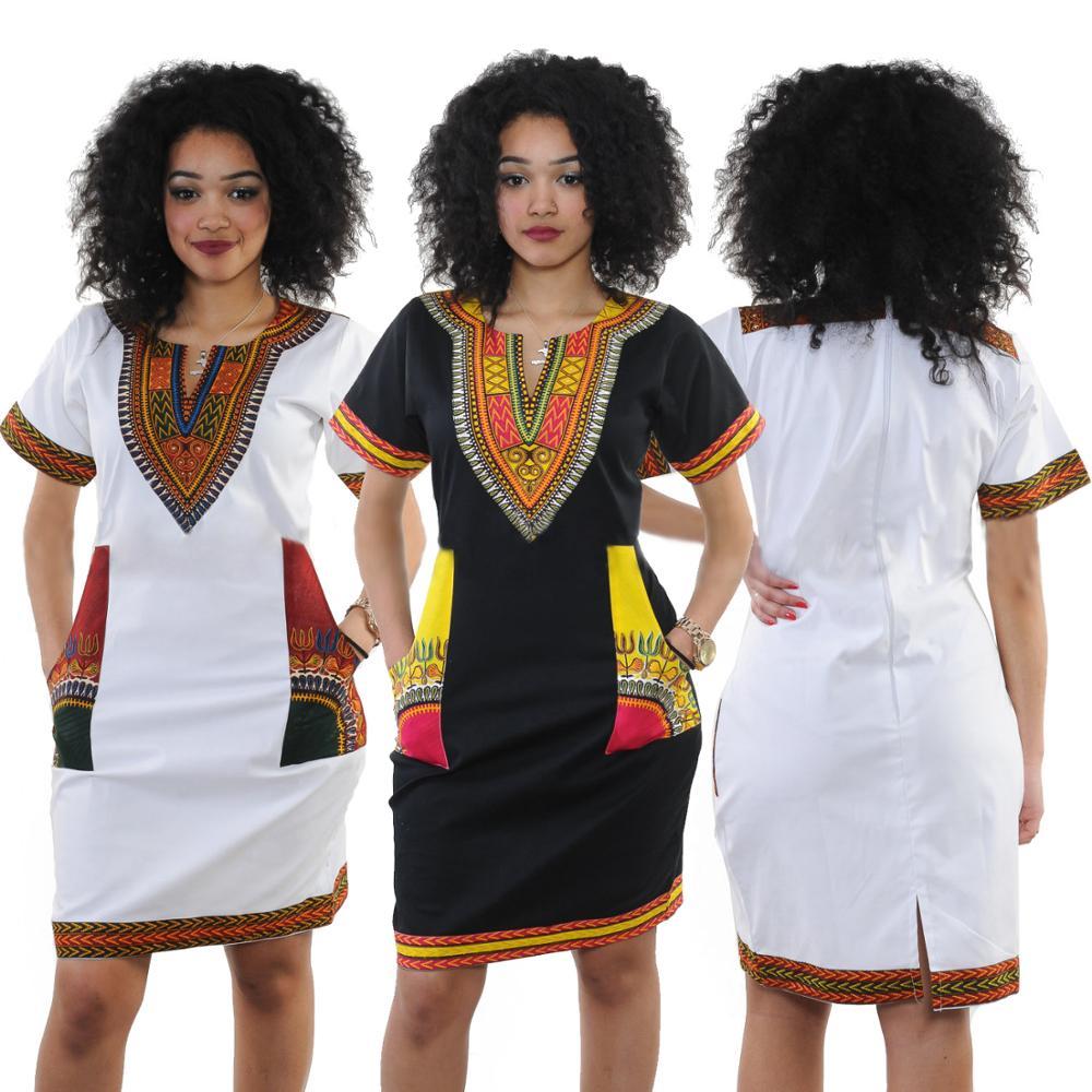 790a95e3c4b Gros Femmes Col En V À Manches Courtes Dashiki Robes Africaines D impression