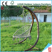 Wood rattan wicker hanging egg chair outdoor jhula patio garden swing LJ006A