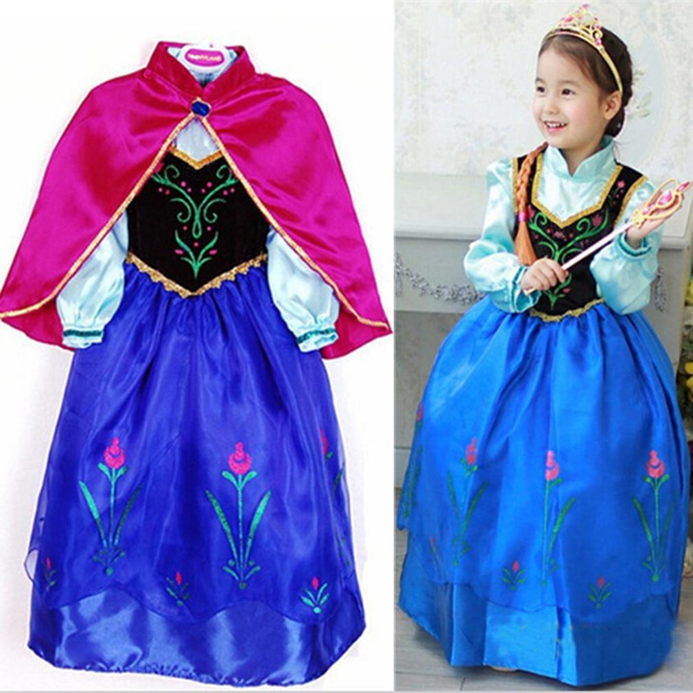 New Elsa Princess Girls Costume Party font b Fancy b font Snow Freeze Queen Cape font