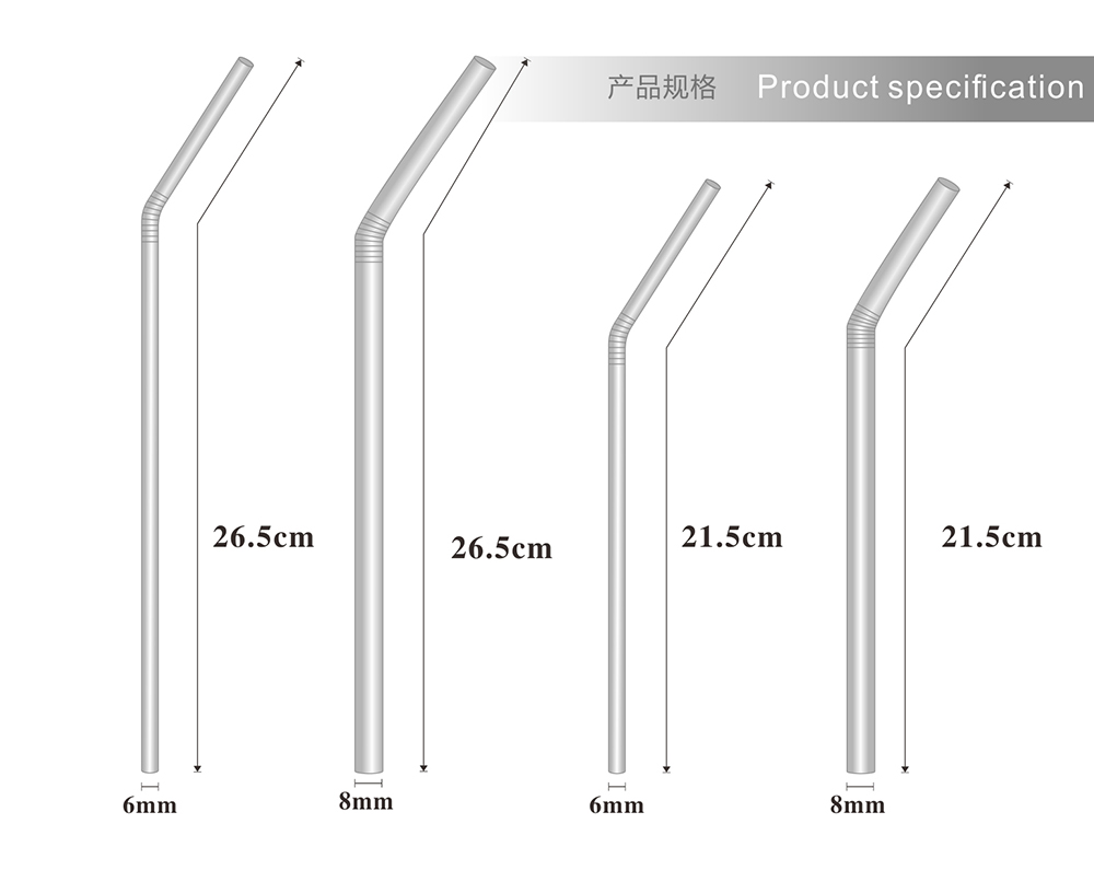 Long Straight  Bent 8mm Reusable Rainbow Custom Printed Stainless Steel Drinking Metal Straws