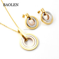 Costume African Fashion Jewelry Gold Round Women's Stainless Steel Jewelry Sets