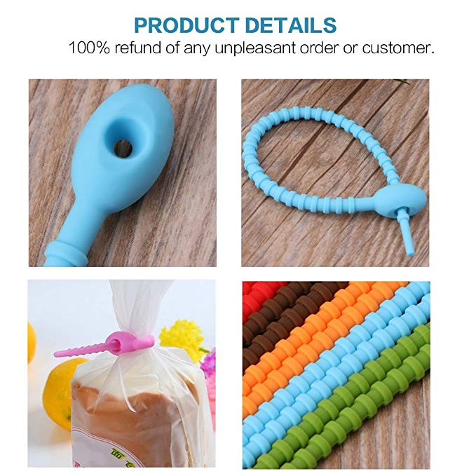 2018 Amazon Hot Selling Latest Design Reusable silicone Twist Kitchen Tools Rubber Cable Ties