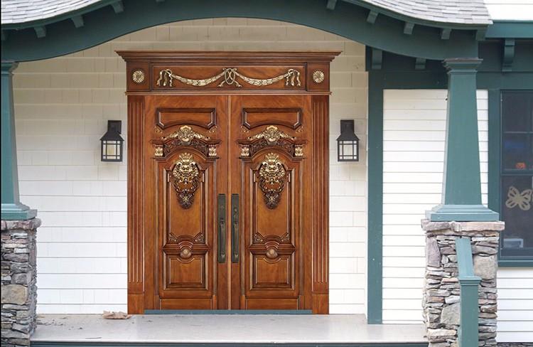 villa de lujo puertas de entrada de madera maciza de doble puerta frontal interior de metal