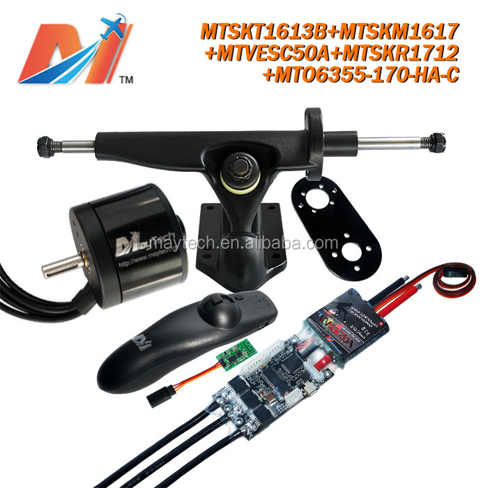 Maytech outboard engine remote control and super esc basedvesc and 6355 170kv torque motor and truck mount kits for e skateboard