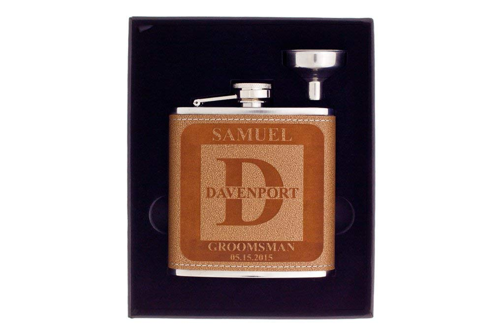 Flask in Gift Box, Personalized Groomsman Flask with Letter Design, Custom Engraved Gift, Wedding Flask with Funnel, Monogram