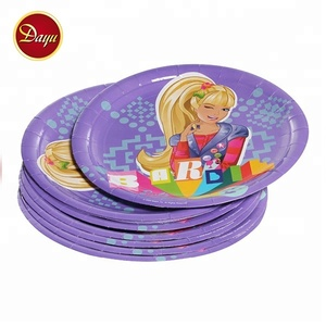 Cheap prices disposable dinner round printed cartoon plate party paper dish