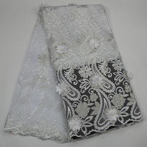 African french tulle lace fabric embroidery beaded 3d lace fabric sequins glitter Nigerian laces