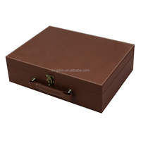 Custom Made Luxury Brown PU leather Wine Carrier Case Box with Gift Set Accessories