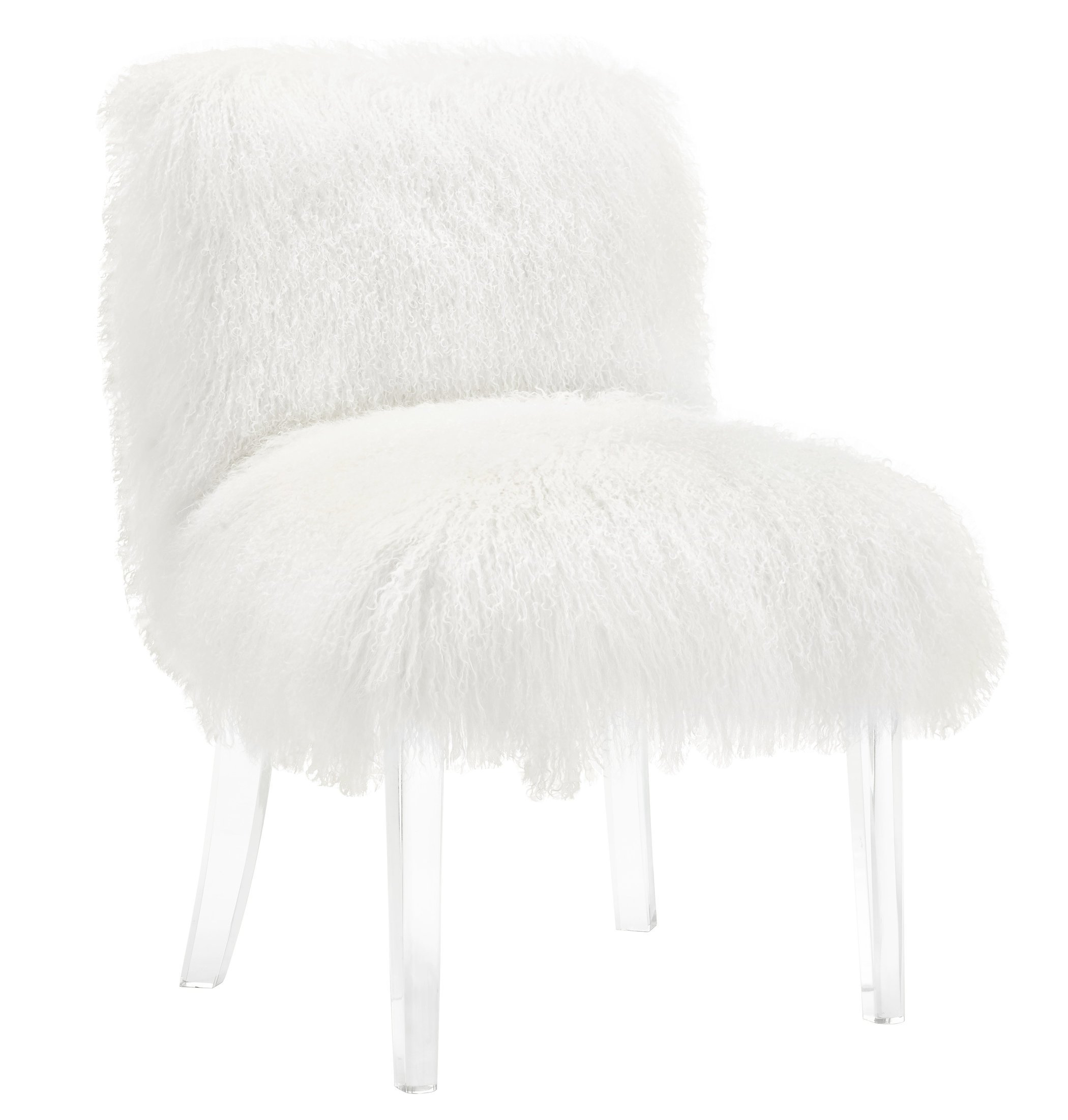 Tov Furniture The Sophie Collection Modern Sheepskin Upholstered Living Room Accent Chair with Lucite Legs, White