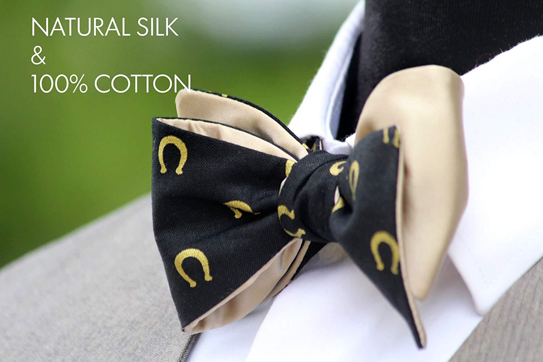 Mens Bow tie Black and Beige Bow tie Mens Bow Tie Men's Wedding Bow Ties