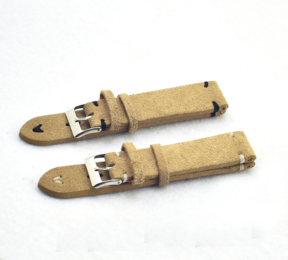 20mm beige color less stitching suede leather watch straps фото