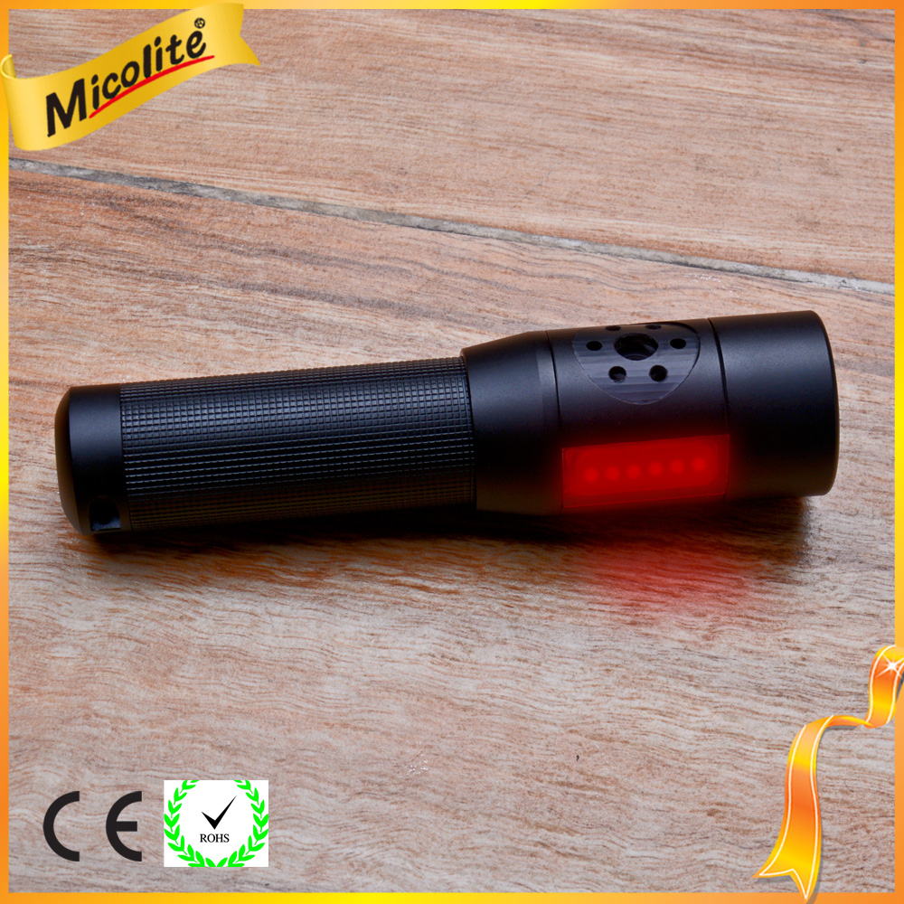 Newest Multi Function Led Torch Flashlight With Alarm And Red Strobe For Outdoor