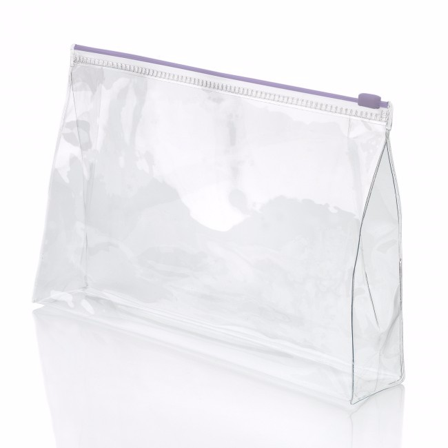 Simple Waterproof Clear White Stand Up Pvc Makeup Bag