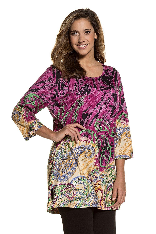 Ulla Popken Women's Plus Size colorful Paisley Print Tunic 711415