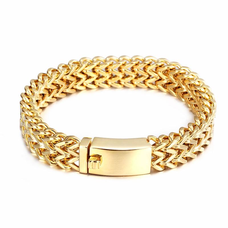 Bracelet chaîne cubaine en acier inoxydable plaqué or avec bijoux pour hommes