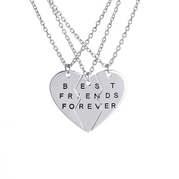 Fashion silver best friends forever necklaces two heart broken fashion silver best friends forever necklaces two heart broken pendant necklace aloadofball Choice Image
