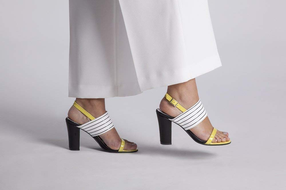"""d2a63d1e5f2 Get Quotations · Yellow Patent and White Black Striped Italian Leather  Dress sandal with a Chunky Block 3.5"""" Heel"""