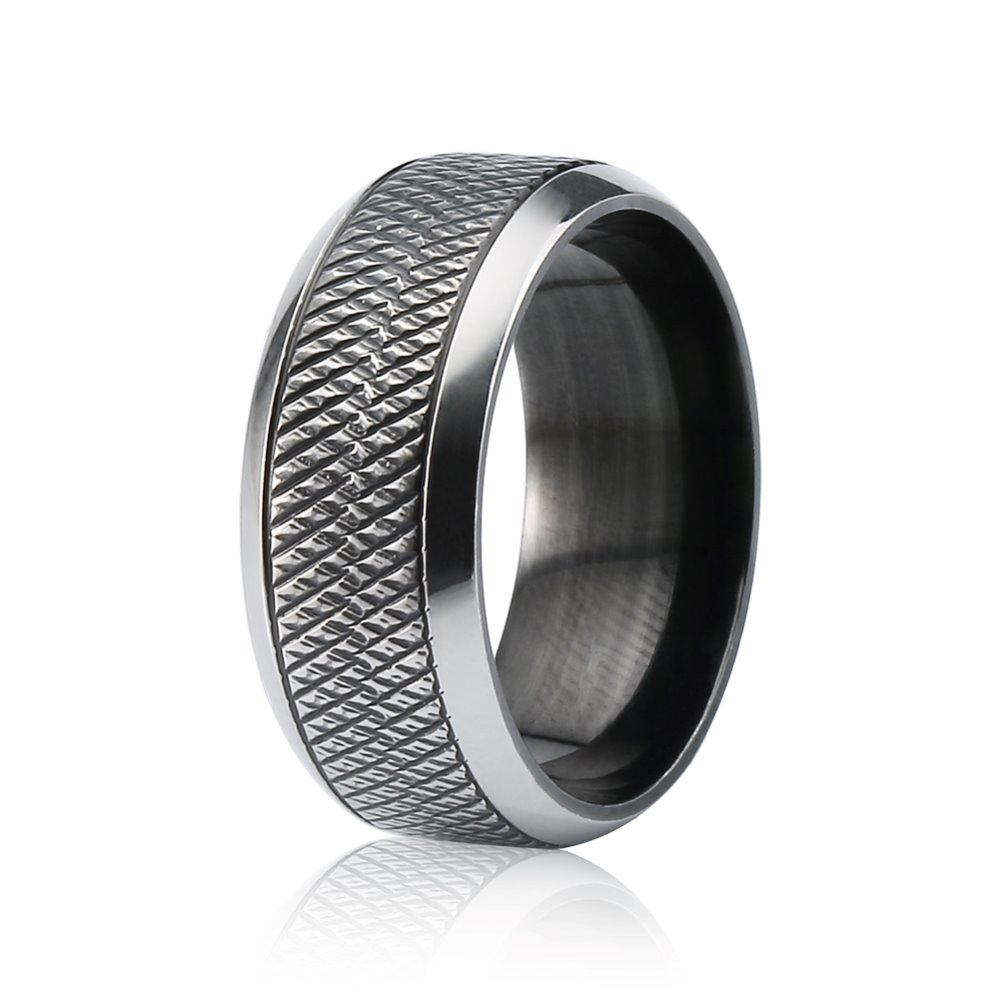 2016 Wholesale Men's 316L Stainless Steel 8MM Black Tungsten Ring