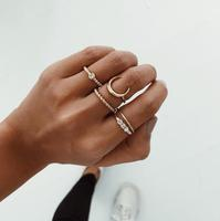5pcs/set Minimalist Moon Midi Rings for Women Bohemian Boho Gold Color Geometric Twist Knuckle Rings Women Fashion Jewelry