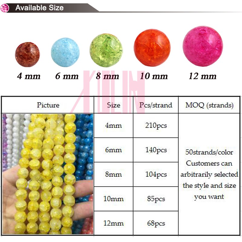 XULIN Bead Landing Wholesale Handmade Loose Beads UB-054 Crystal Crackle Beads for Jewelry
