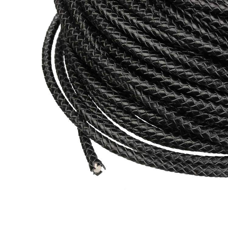 wholesale black round necklace leather rope braided cord for DIY bracelets making