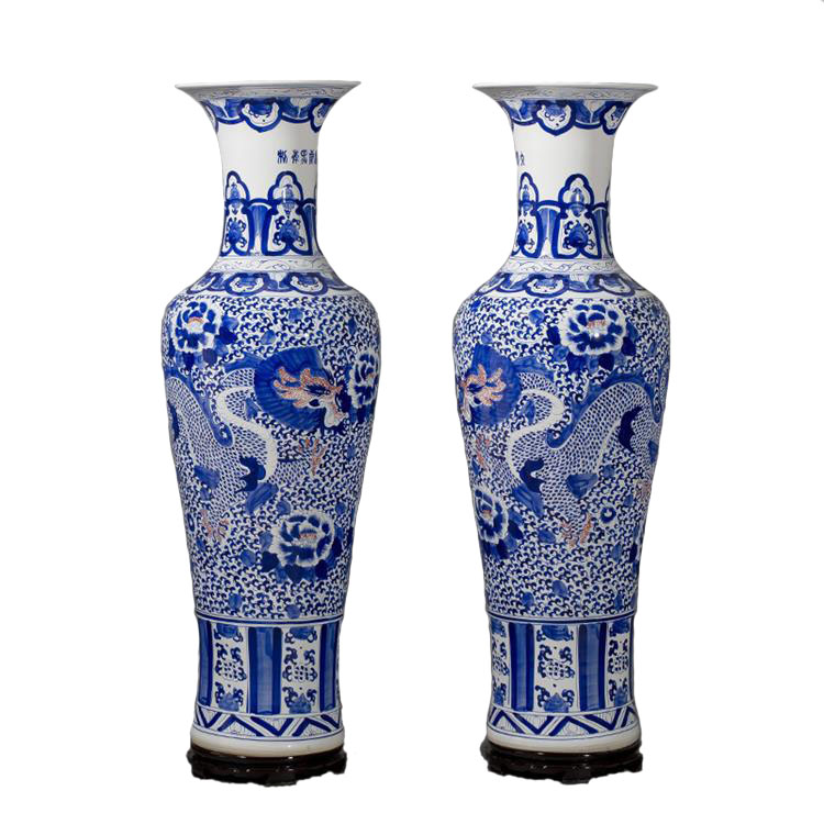 Chinese blue and white porcelain large decorative floor vases